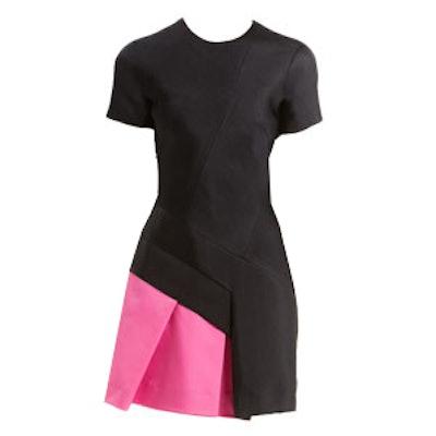 Short-Sleeve Colorblock-Pleat Dress
