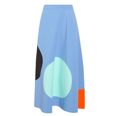 Paneled Stretch-Crepe Midi Skirt