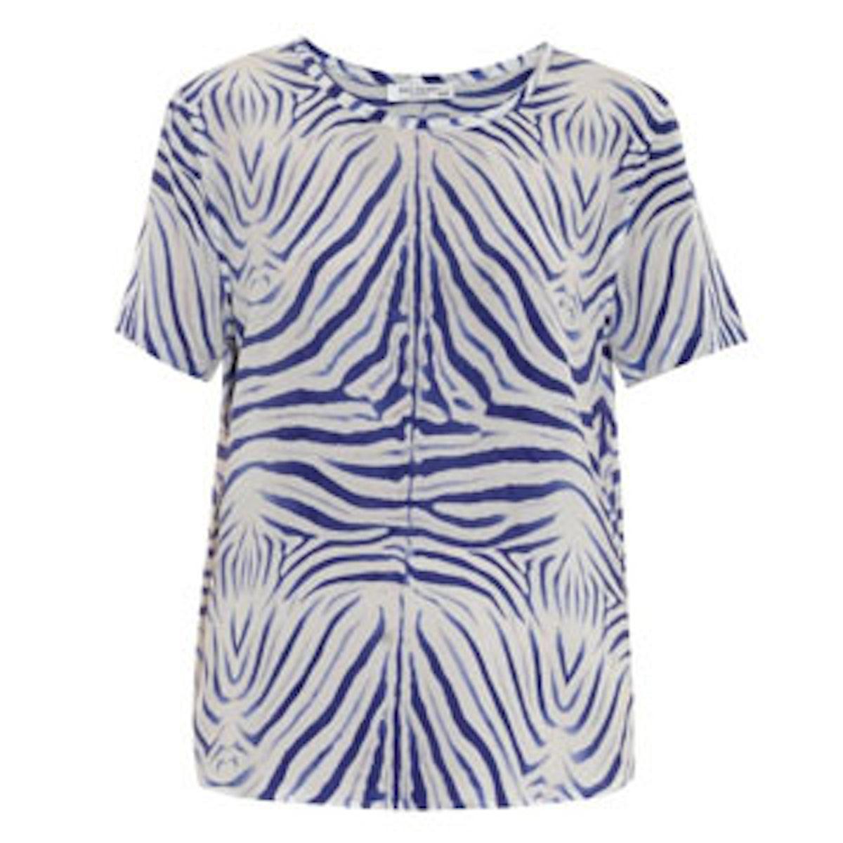 Riley Zebra-Print Silk Top