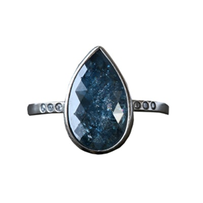 3.16 Carat Pear Cut Blue Diamond & 14K White Gold Ring