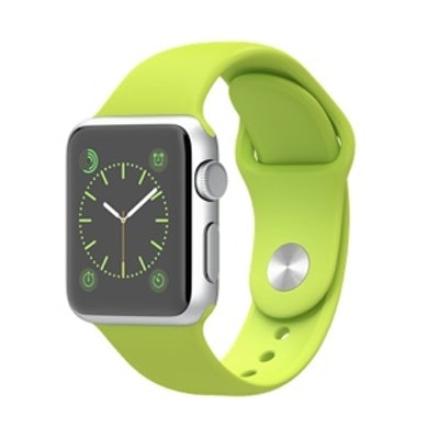 38mm Silver Aluminum Case with Green Sport Band