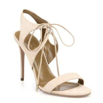 Suede Ankle-Tie Sandals