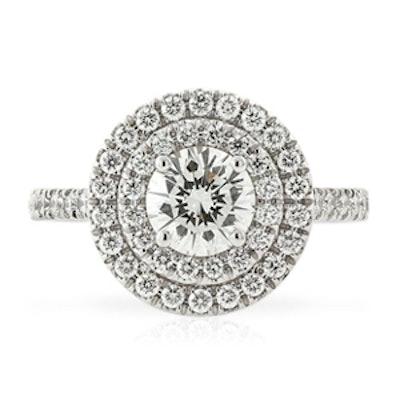 1 Carat Round Cut Diamond & 18K White Gold Ring
