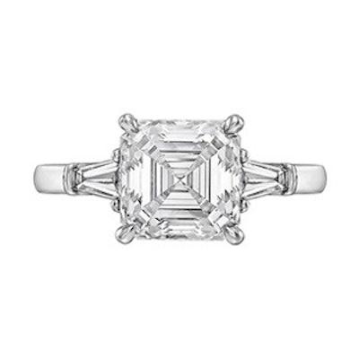 3.01 Carat Asscher Cut Diamond & Platinum Ring