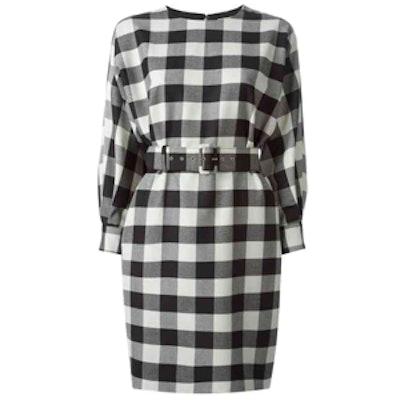 Gingham Pattern Belted Dress