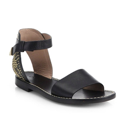 Suzanna Studded Leather Ankle Strap Sandals