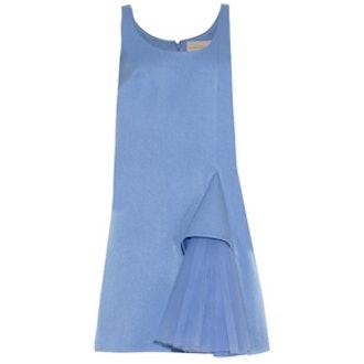 Ruffled Satin Crepe Dress