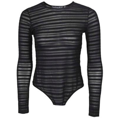 Maisie Mesh Stripe Long Sleeve Bodysuit