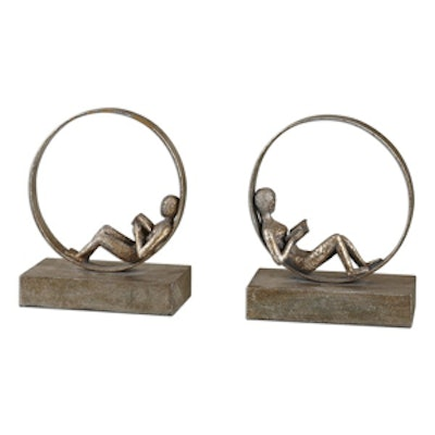 Lounging Reader Antiqued Metal Bookends