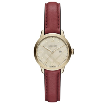 Goldtone IP Stainless Steel and Leather Strap Watch
