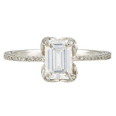 1.13 Carat Emerald Cut Diamond & Platinum Ring