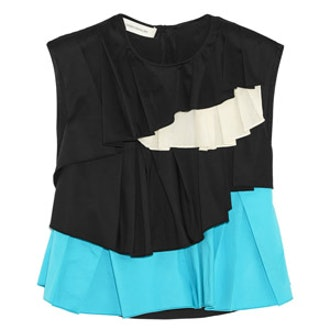 Ruffled Cotton-Blend and Satin Top