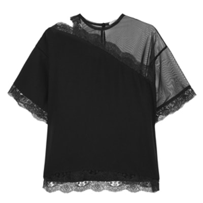Lace-trimmed Mesh and Sateen Top