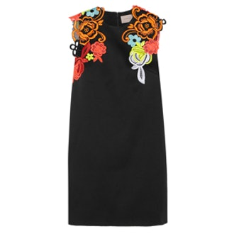 Neon Guipure Lace-appliquéd Cady Mini Dress