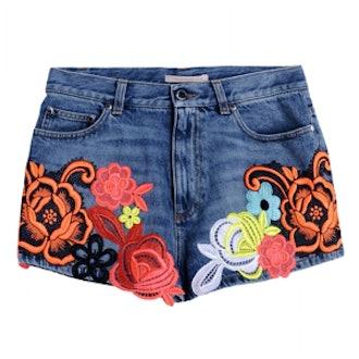 Floral Appliqué Denim Shorts
