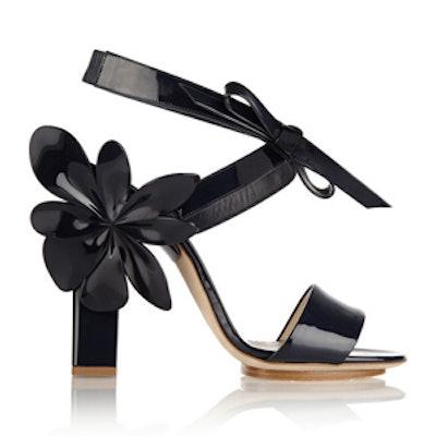 Appliqued Patent-Leather Sandal