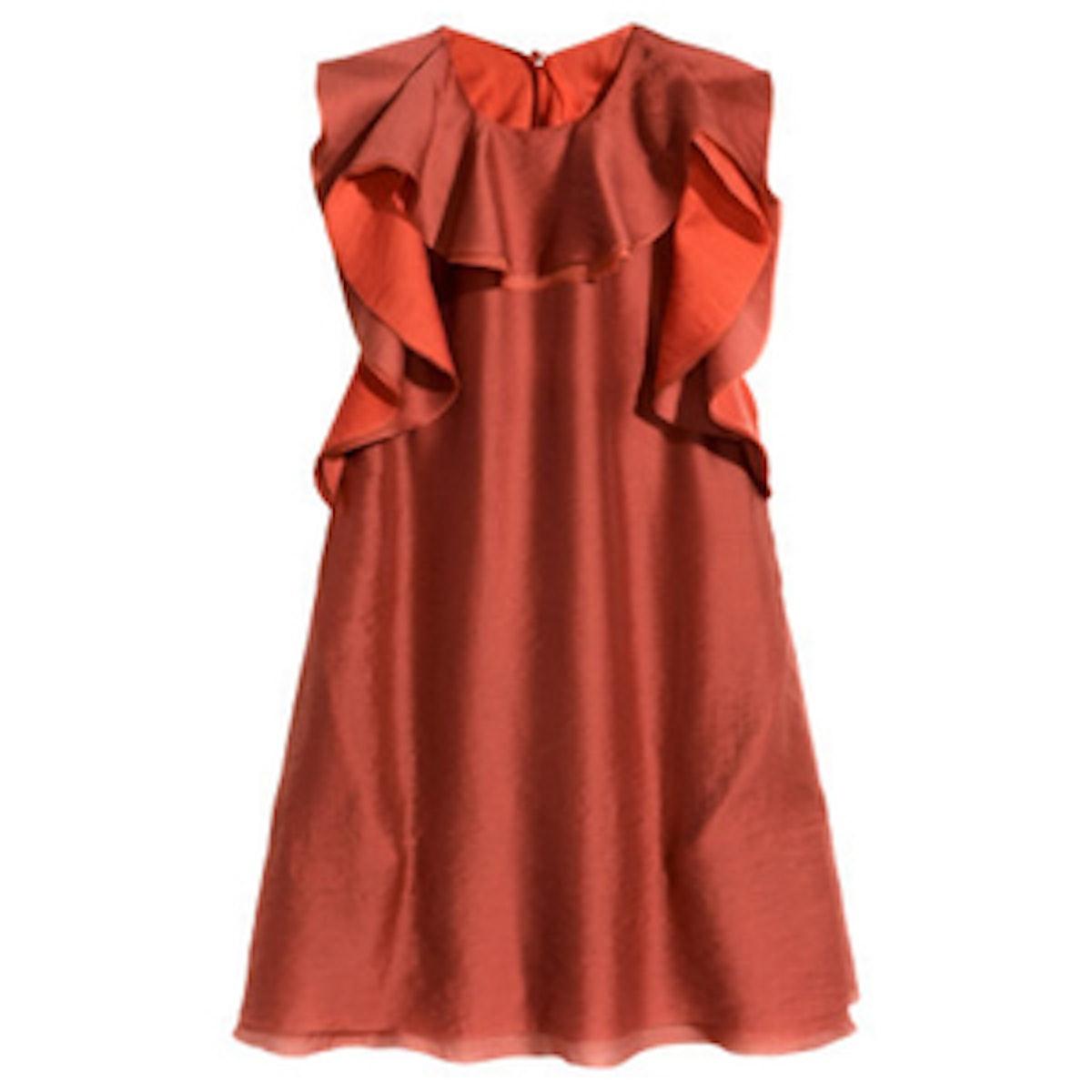 Ruffled Lyocell Dress