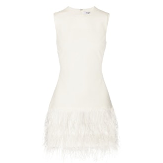 India Feather-Trimmed Mini Dress