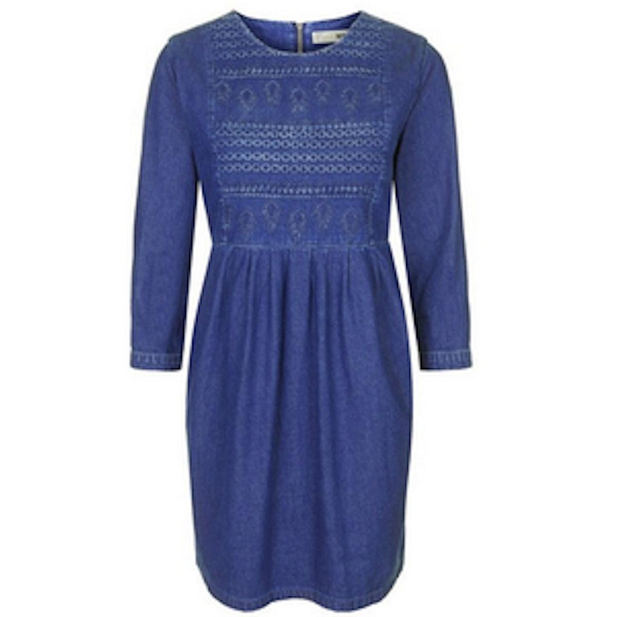 Embroidered Smock Dress
