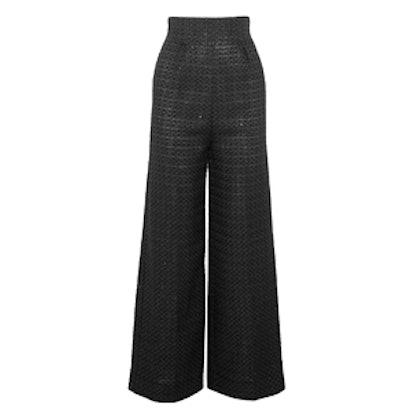 Sequined Metallic Jacquard Wide-Leg Pants