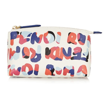 Printed Textured-Leather Cosmetics Case