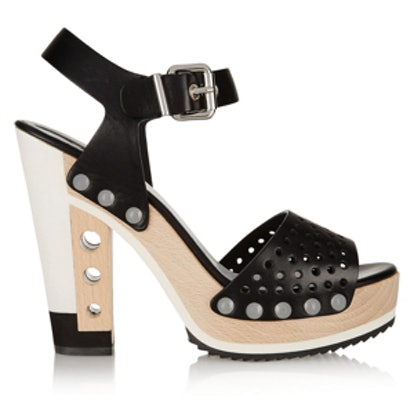Perforated Leather Platform Sandals