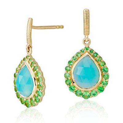 Frances Gadbois Aqua Chalcedony and Tsavorite Halo Earrings