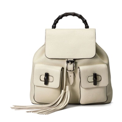 White Leather Bamboo Sac Backpack