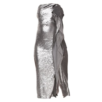 Strapless Sequined Cascading-Ruffle Dress
