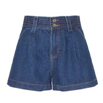 High-Waisted Dark Denim Shorts