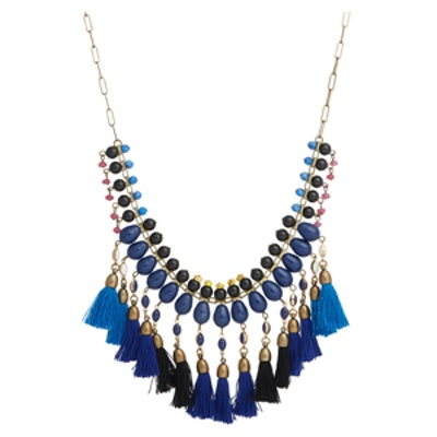 Beaded Collar Necklace With Tassels