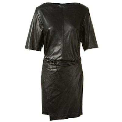 Falco Black Leather Wrap Up Mini Dress