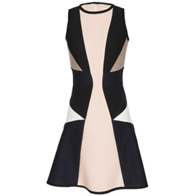 Sleeveless Colorblocked Fit & Flare Dress