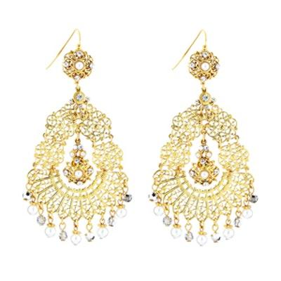 Faux-Pearl & Crystal Chandelier Earrings