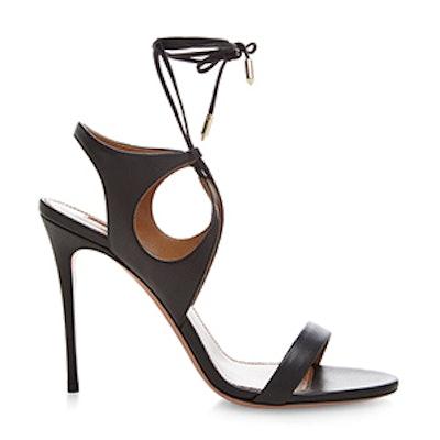 Colette Black Leather Cut-Out Sandal