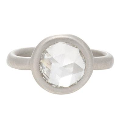 1.75 Carat Rose Cut Diamond & Platinum Ring
