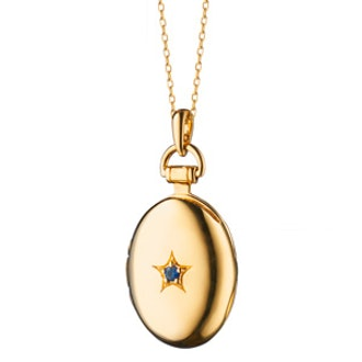 Monica Rich Kosann Sapphire Petite Oval Locket