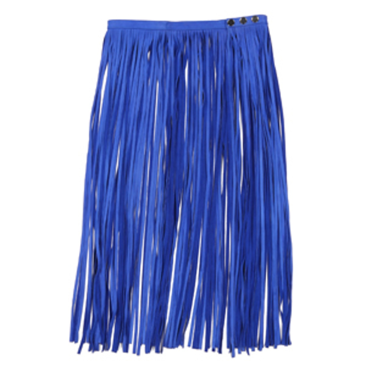 Cobalt Blue Fringe Leather Skirt
