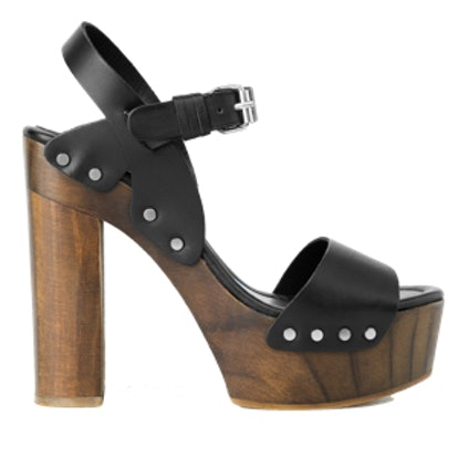 Wood Leather Sandals