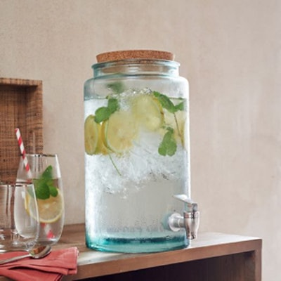 Recycled Glass Drink Dispenser + Stand