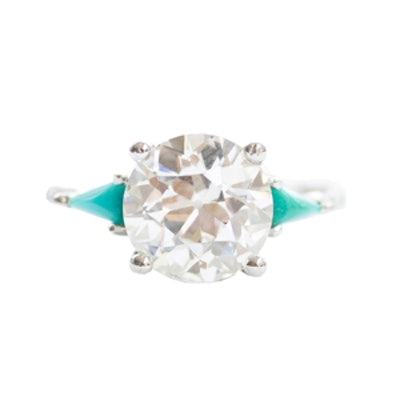 2.02 Carat Round Cut Diamond, Turquoise & Platinum Ring