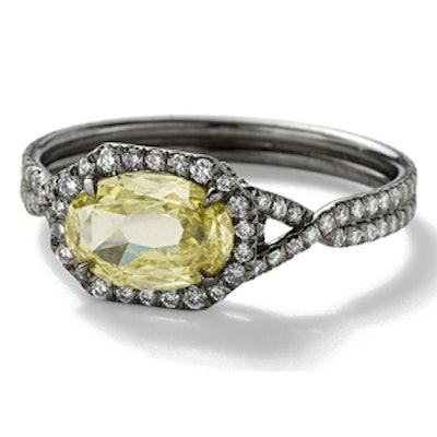 1.02 Carat Oval Cut Fancy Yellow Diamond & Platinum Ring