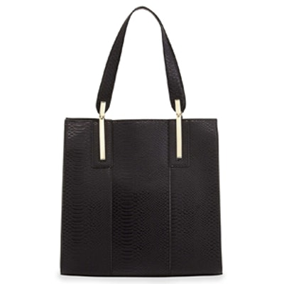 Crocodile-Print Faux Leather Tote