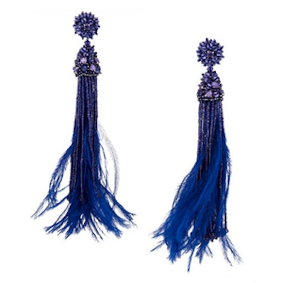 Bead Crystal and Feather Earring