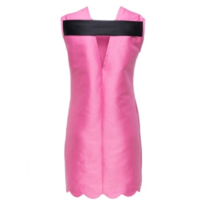 Satin Dress with Scallop Detail