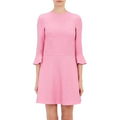 Bell-Cuff Crepe Dress