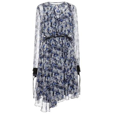 Asymmetrical Printed Chiffon Keyhole Dress