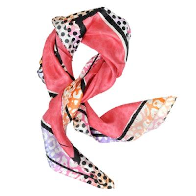 Coral Stiletto Printed Silk Scarf