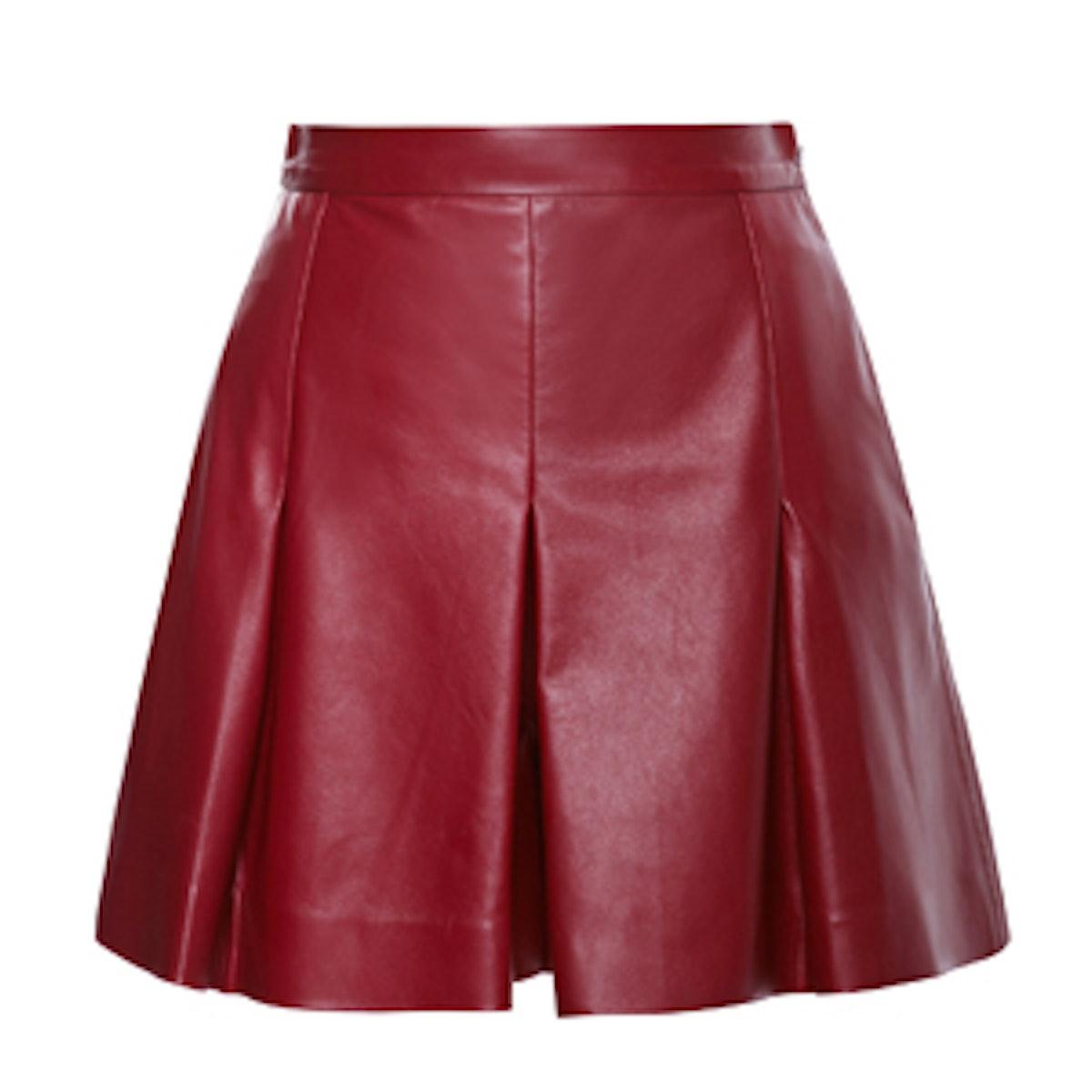 Plonge Leather Shorts with Pleats