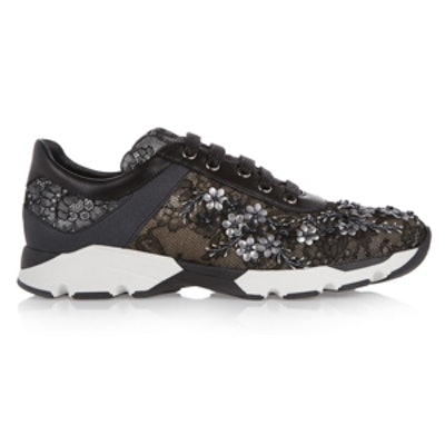 Embellished Lace Covered Leather Sneakers